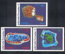 "Polinesia Francesa 1992 espacio/""spot ""satélite/Mapas/islas/transporte 3v (n38354)"