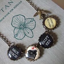"""THE NOVELIST"" Vintage Typewriter Key Necklace Swallow Bird Quirky Unusual Blog"