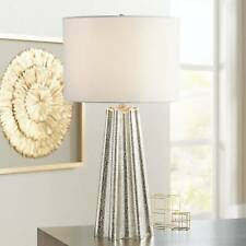 Modern Table Lamp Fluted Mercury Glass White Drum Shade for Living Room Bedroom