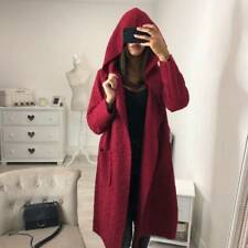 Ladies Women Plain Fluffy Hooded Long Cardigan Coat Winter Belt Trench Jacket UK