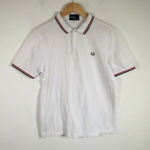 Fred Perry mens polo shirt size L slim fit white short sleeve collared cotton
