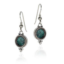 Sterling Silver Blue Green Eilat Stone Small Dangle Drop Round Womens Earrings