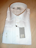 NEW $250 IKE BEHAR Mens Dress SHIRT 17 34 35 white Made in USA Cotton BC GOLD