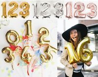 Foil Number Inflating Balloons Milestone 16 18 21 30 40 50 Banner Party Bunting