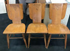 Lot of 3 Carved Chairs British Oak Jamestown Lounge Co NY