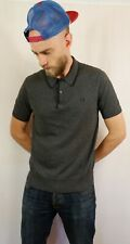 Fred Perry Knitted Cotton Polo Shirt Size Medium Grey