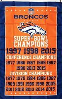 Denver Broncos NFL Super Bowl Championship Flag 3x5 ft Sports Banner Man-Cave