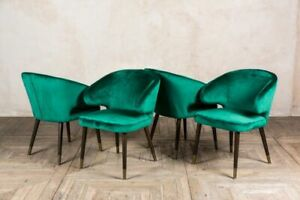 SET OF FOUR DARK GREEN VELVET DINING CHAIRS MID CENTURY STYLE VINTAGE STYLE