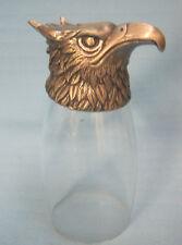 Eagle Head Metal Footed Stem Wine Glass Gobbet Bird Figurine Silver