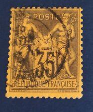 France N°93 35 C  Violet Noir Oblitère TB Côté 50€