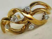 Hand Band Woven Swirl Ring Rc#557-1 Modern Fancy Diamond 14Kt Yellow Gold Right