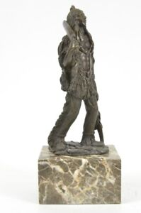 Bronze Marble Sculpture Native American Indian Warrior Figurine Statue Artwork