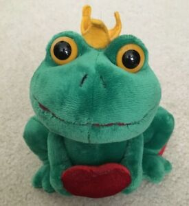Russ Berrie Green Frog Prince Crown Red Heart Plush Beanie Soft Toy Figure NEW