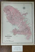 """MARTINIQUE 1901 Vintage Atlas Map 11""""x14"""" Old Antique FORT DE FRANCE DUCOS MAPZ"""