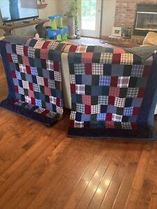 2 Twin Cotton And Felt Patchwork Quilts Trimmed In Navy Blue Felt
