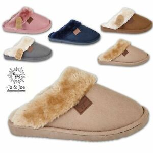 Ladies Slippers Womens Fur Lined Hard Sole Clog Warm Winter Mules Shoes Size UK