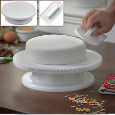 Cake Decorating Rotating Turntable Stand & Smoother Polisher Sugarcraft Tool New