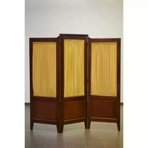 Antique Vintage Mahogany Three Wood Panel Screen Room Divider & Window Curtain