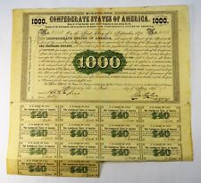1861 - $1000 CSA LOAN BOND - MONTGOMERY ALABAMA - CR8 - 16 COUPONS - VERY FINE