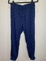 LuLaRoe M Jax #2158 - Jogger Sweat Pants - White Dots on Navy Blue