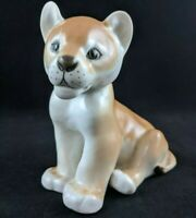 Vtg Lion Cub Porcelain Statue Figurine LFZ Lomonosov Factory Soviet Russian USSR