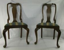 Lot of 2 Vintage Henkel Harris Queen Anne Genuine Mahogany Dining Chairs 105 S