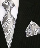 Binder de Luxe Designer Krawatte Einstecktuch Krawatten Set Tie 157 Silber 2 Tlg