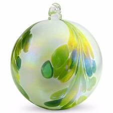 """4"""" European Art Glass Crested Plume Jade Green Pearlized White Witch Ball Kugel"""