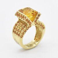 14k Yellow Gold Estate Fancy Citrine Gemstone Cocktail Ring Size 8.5