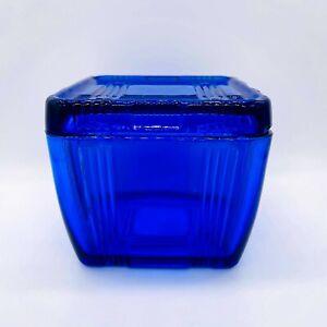 Vintage 1938 Hazel Atlas Cobalt Blue Criss Cross Square Glass Refrigerator Dish
