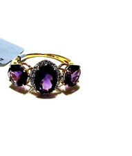 10K Yellow Gold Purple Amethyst (AAAA) Oval & Round 3-Stone with W. Zircon Ring