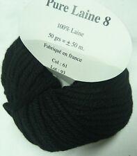 10 ovillos 100% lana pura color negro - Hecho en francia