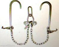 "Low Profile LP11-8T 5/16  G70 V Chain w 15"" J Hook & T Hook 2 ft Legs Grab Hooks"
