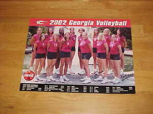 2002 Georgia Bulldogs Women's Volleyball Team Autographed Signed Poster