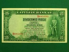 More details for latvia 1938, 25 latu collectable banknote.fine