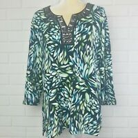 JM collection women's embellished size XL green black blouse top