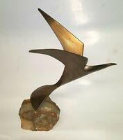 Signed C. Jere Flying Seagull Brass Sculpture On Quartz Stone 1981 vintage art
