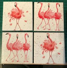 Set of 4 Handmade ceramic coasters Wrendale Desig (flamingos)