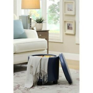 Convenience Concepts Designs4Comfort Round Storage Ottoman, Blue - 163523BE