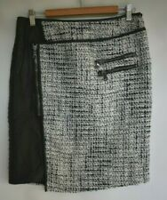 Arthur Galan boucle & leather asymmetrical skirt.  Size 12.  Great cond.