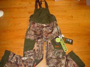 New Mens M Medium Under Armour Hunting Bib Pants Camo Mossy Oak Ridge Reap Shell
