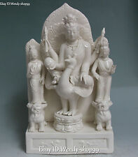 """16"""" Dehua White Porcelain Kwan-yin Guan Quan Yin Ride Phoenix Peacock Statue"""
