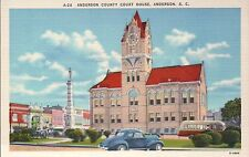 Anderson County Court House South Carolina SC, Car - Old Vintage Linen Postcard