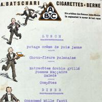 Vintage 1933 Hotel Belvedere Lucerne Lunch Dinner Menu Batschari Cigarette Berne