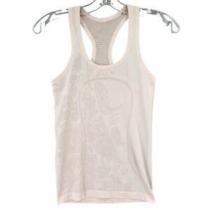Lululemon Run Swiftly Tech Racerback Tank Top Shirt RARE Paisley Light Pink 4