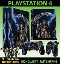 PS4 Piel GRIM REAPER Angel of Death Calavera Gótica Pegatina + Pad vinilo Stood