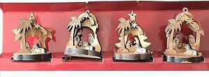 Four Miniature Olive Wood Nativity Ornaments Souvenirs from the Holy Land in Box