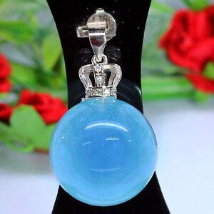 NATURAL 19 mm. AQUA BLUE UNHEATED AQUAAMRINE PENDANT 925 SILVER