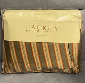 Ralph Lauren Cape Catherine Stripe Tabacco Queen Ruffled Bedskirt New