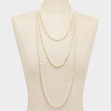 Fast Free Ship / 90 inch Long Strand Pearl Necklace / 8mm Beads / Cream Color